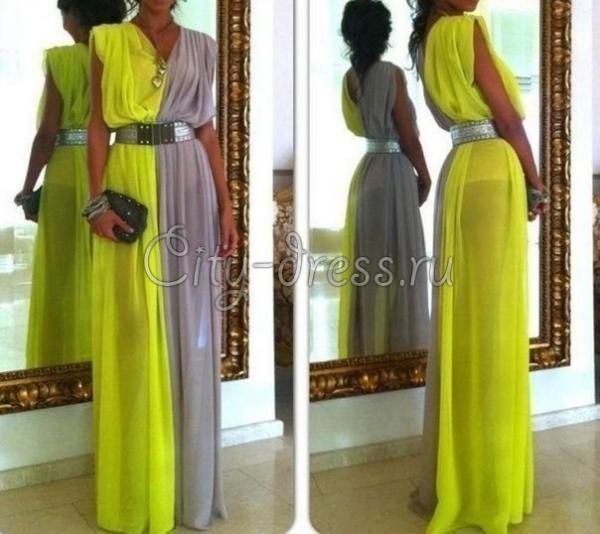 Платья - стильное желто-серое шифоновое платье в пол