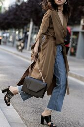fake leather,blogger,top,jeans,shoes,bag,jewels,brown coat,mules,spring outfits,coat,black bag
