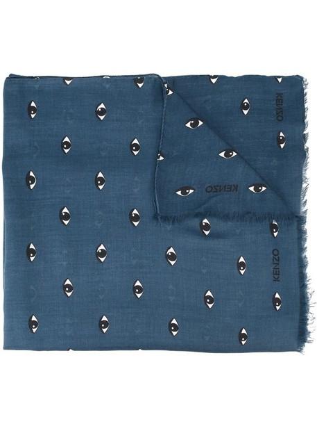 eyes women scarf blue silk