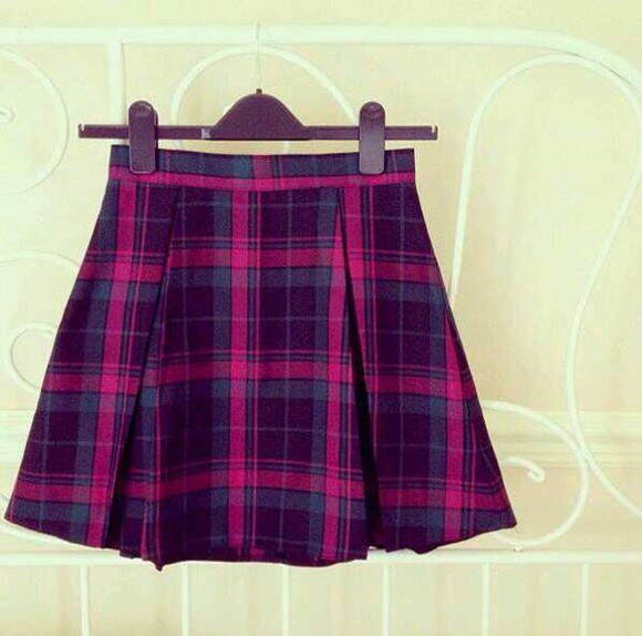 tartan skirt pink purple