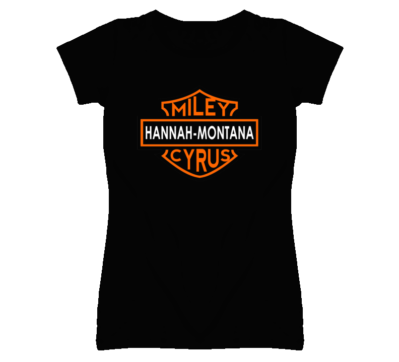 Hannah Montana Miley Cyrus Harley Davidson Parody Funny Black T Shirt