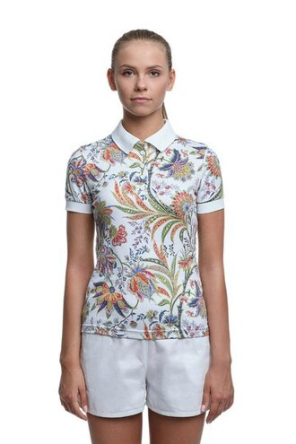 t-shirt floral flowers flower t-shirt print all over print full print polo shirt all over print polo shirt full print polo shirt printed polo shirt shorts white shorts collared shirt floral t shirt printed t-shirt