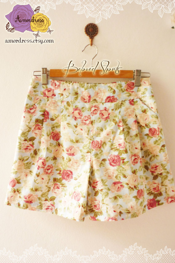 Vintage inspired floral shorts shabby chic blue with by amordress