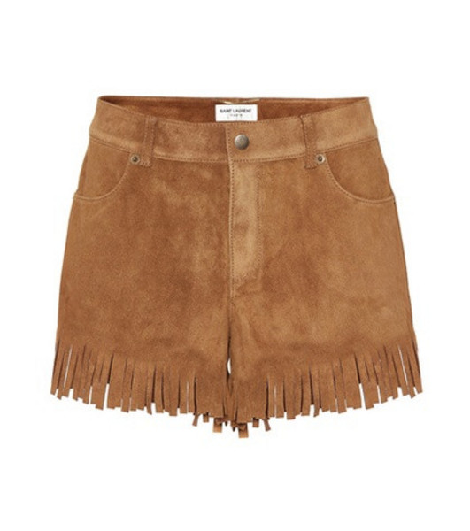Saint Laurent Fringed suede shorts in brown