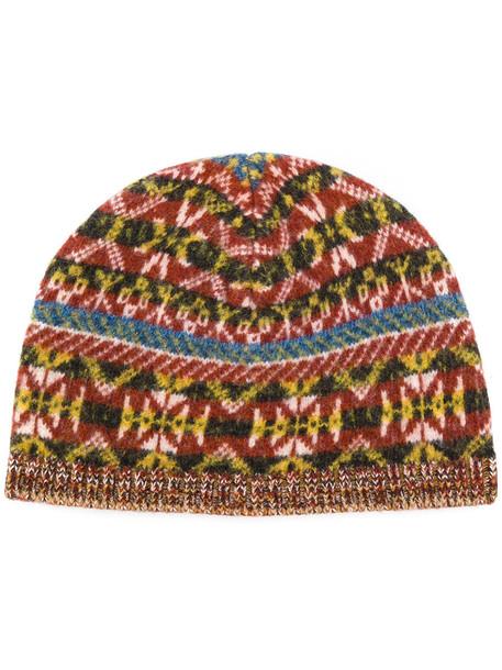 jacquard beanie brown hat