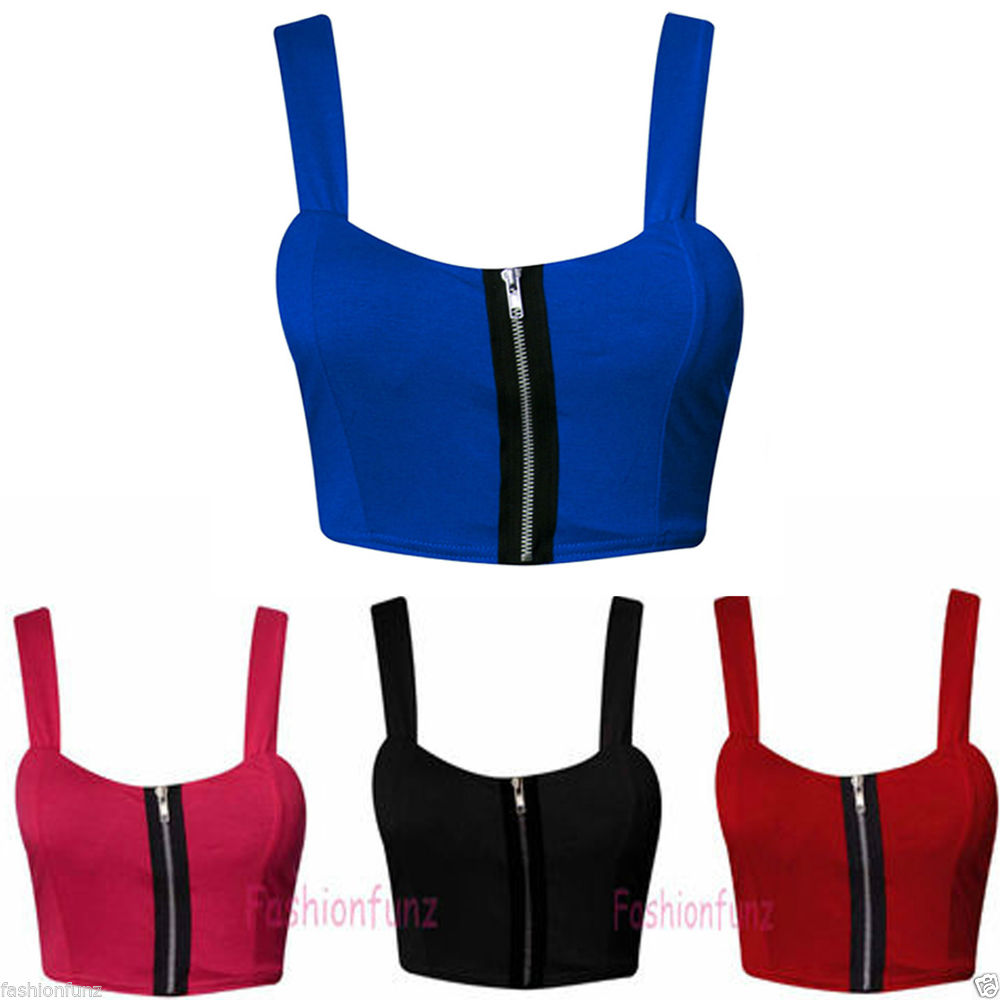 New Womens Ladies Beautifull Zip Front Padded Sexy Bralet Bra Crop Top Size 8 14 | eBay