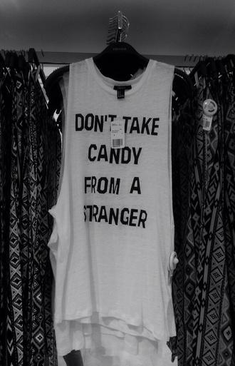 top white black candy stranger tumblr tank top long summer