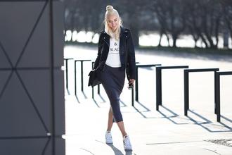 meri wild blogger jacket adidas shoes white t-shirt graphic tee bodycon skirt