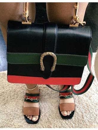 shoes gucci red green tan gold sandals