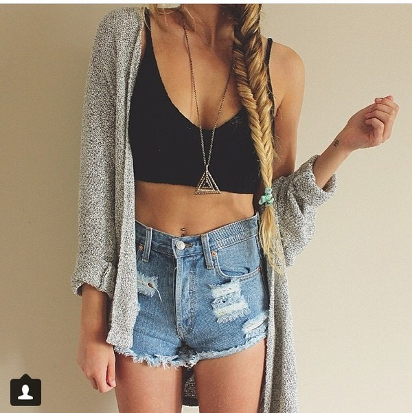cardigan top jewels shorts