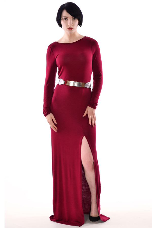 dress wine maxi dress long sleeves long sleeve maxi dress belt belted maxi dress maxi dress side split maxi dress