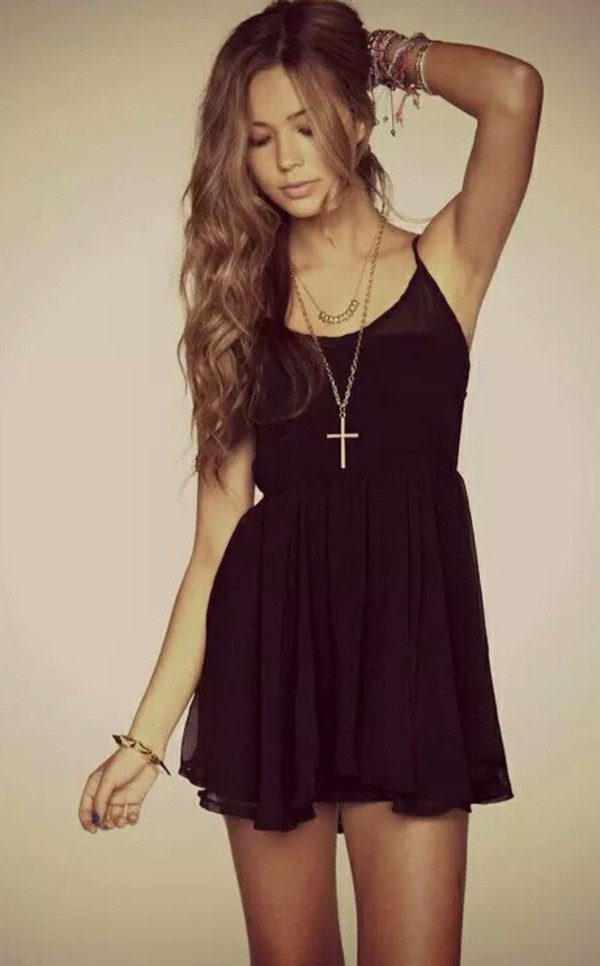 dress black silk classy cute elegant tumblr black