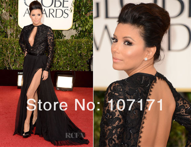 Eva Longoria 2013 Golden Globe Awards Open Back Lace Split Chiffon Long Sleeve Evening Dress Celebrity Red Carpet Dress-in Celebrity-Inspired Dresses from Apparel & Accessories on Aliexpress.com
