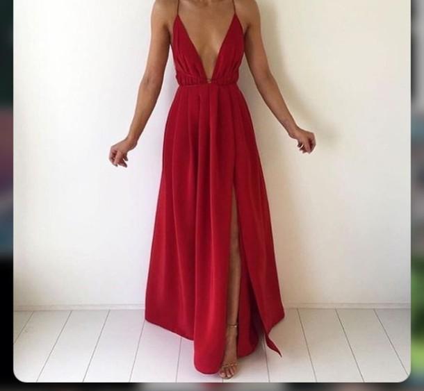 dress red maxi dress plunge v neck slit dress long red dress red dress prom  dress 772676208