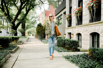 kelly in the city - a preppy chicago life style and fashion blog blogger bag jacket shirt coat t-shirt top jeans shoes sunglasses army green jacket skinny jeans tote bag