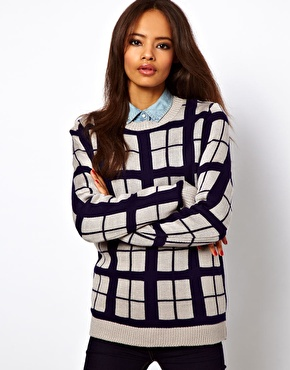 ASOS | ASOS Check Jumper In Contrast Yarn at ASOS