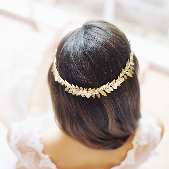 Roman crown bridal crown wedding headpiece door EricaElizabethDesign