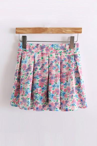 blue skirt colorful floral skirt