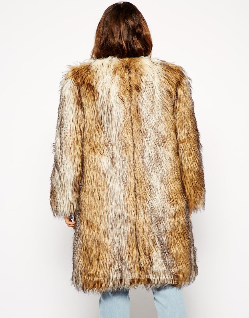 ASOS Vintage Faux Fur Longline Coat at asos.com
