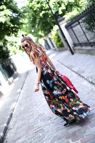 dress tumblr floral maxi dress maxi dress floral floral dress long dress backpack bag