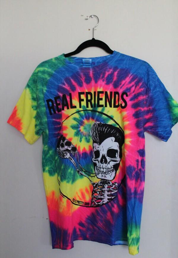 t-shirt tie dye shirt multicolor skeleton skeleton pizza real friends shirt