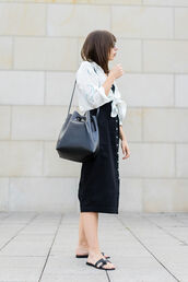 shirt,tumblr,white shirt,dreamcatcher,black dress,midi dress,button up,shoes,slide shoes,bag,bucket bag,dress