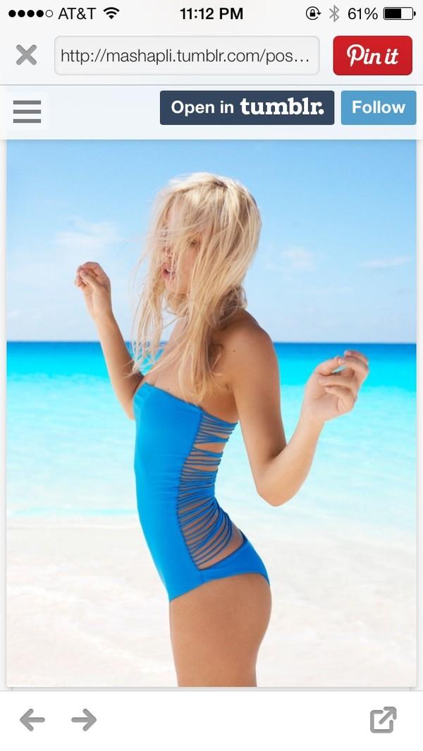 swimwear blue one piece swim wear