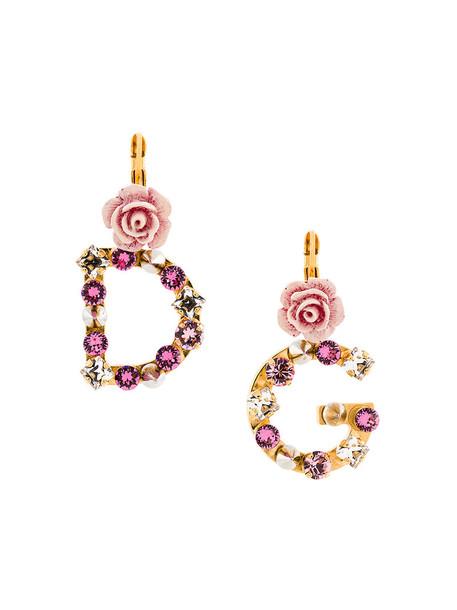 Dolce & Gabbana women embellished earrings grey metallic jewels