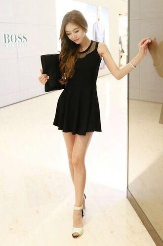 dress tulle skirt black tulle little black dress high heels ulzzang holiday dress holiday dresses
