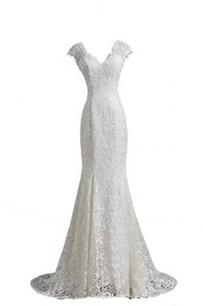 Bonnie Clothing Womenu0027s White Mermaid Lace Sexy Wedding Dresses At Amazon  Womenu0027s Clothing Store: