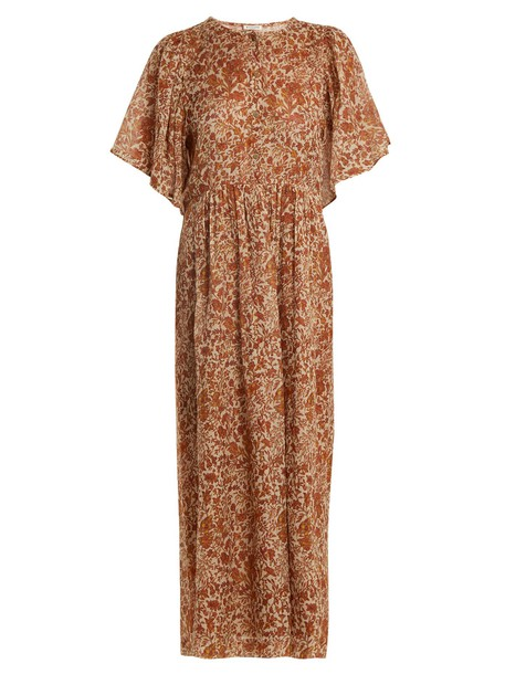 MASSCOB dress floral cotton print silk yellow
