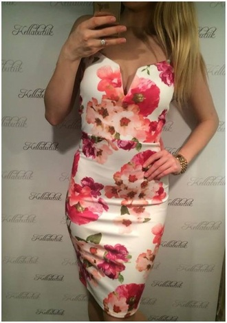 dress white floral floral dress flowers bodycon deep v white dress deep v dress