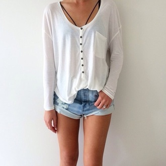 shirt top t-shirt bralette high waisted high waisted shorts high waisted jeans white black black and white beautiful dope indie grunge hipster tumblr instagram ouftit ootd shorts henley casual slouchy long sleeves