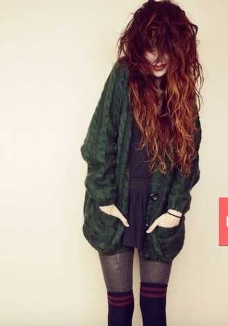 cardigan hunter green knit cable knit grunge cute sweater