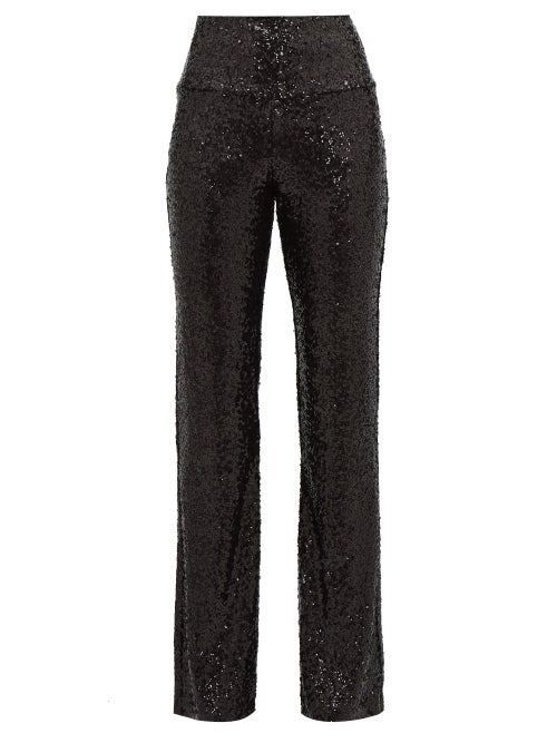 Norma Kamali - High Rise Sequinned Flared Trousers - Womens - Black