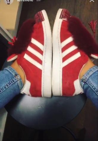 shoes adidas adidas superstars red velvet suede fur