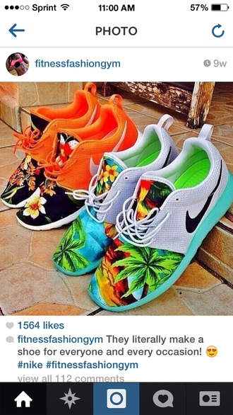 shoes nike floral sneakers mens shoes nike running shoes roshe runs palm tree print roshes custom shoes custom roshe run custom sneakers nikes neon