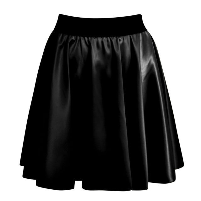 NEW WOMENS SEXY HIGH WAIST FAUX LEATHER WET LOOK SKATER MINI FLARED SKIRT | eBay