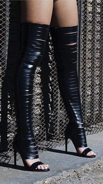 shoes high heels black heels black high heels boots little black boots peep toe boots cute high heels fashion style leather jacket thigh highs