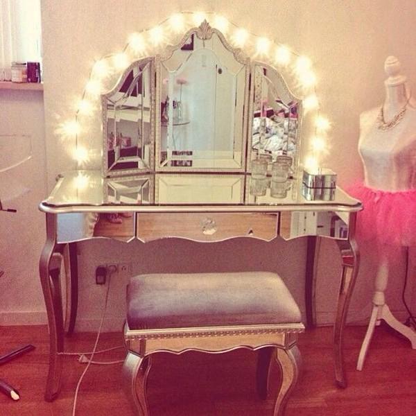 String Lights For Dressing Table : Zoe Desk Vanity Hutch