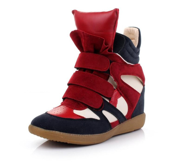 Maranchic Bekett Wedge Sneakers (Red/Navy) – Glamzelle