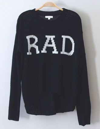 sweater cold black rad quote on it print