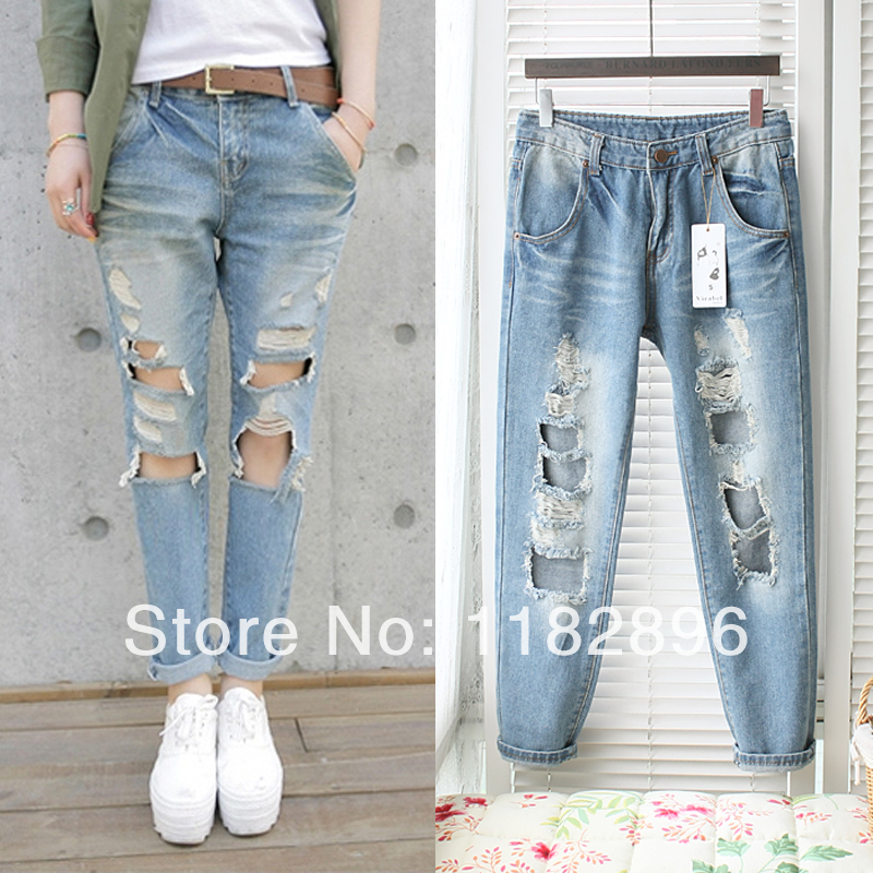 Women big Hole denim ripped jeans 2014 new design female sexy fashion bleached denim pants European street outwear-inJeans from Apparel & Accessories on Aliexpress.com