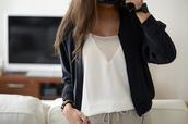 jacket,bomber jacket,black,white,shirt,white blouse