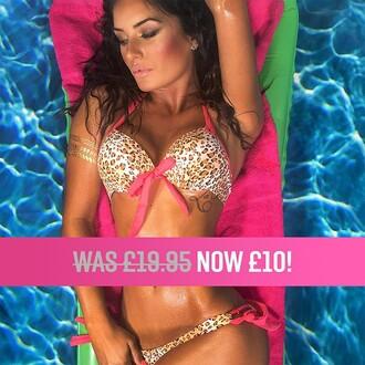swimwear pink boutique bikini halterneck leopard print