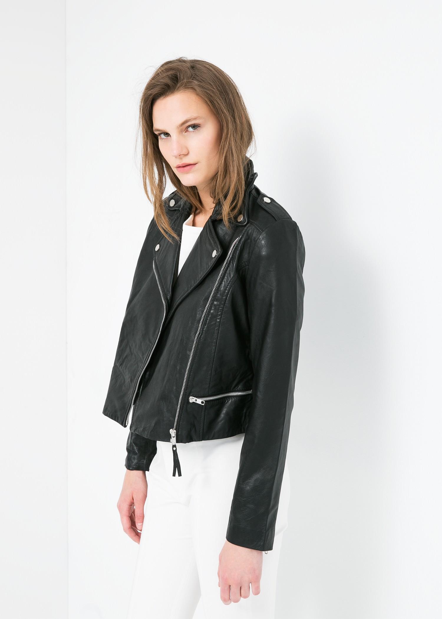 leather biker jacket women mango. Black Bedroom Furniture Sets. Home Design Ideas