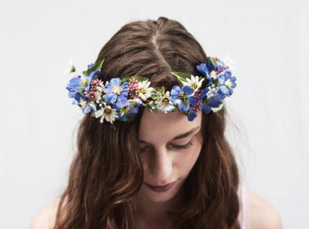 hair accessory flower crown hair flower flower headband hippie flowers  flower crown blue summer outfits summer 0137e43383c
