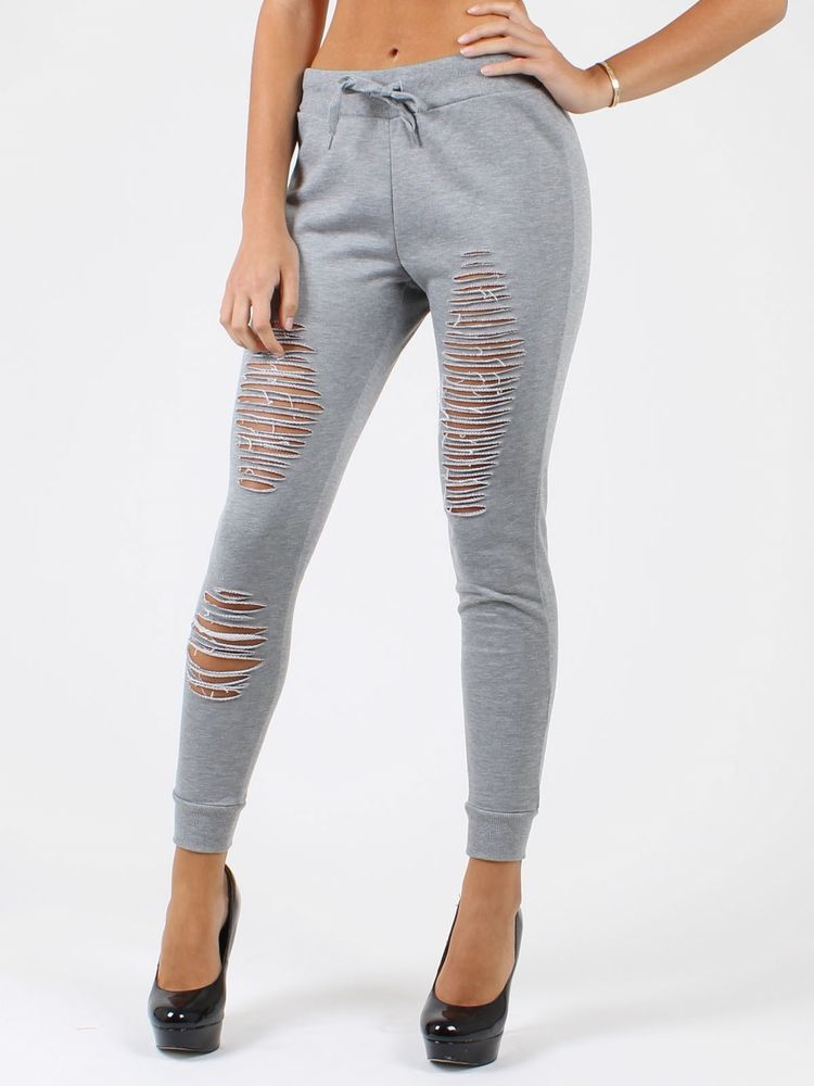 7a12ce9d6b3c24 New Light Grey Elastic Waistband With Drawstring Ripped Torn Jogger Pants  RF445