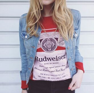 top on point clothing jacket denim jacket budweiser vintage fall outfits cute style fashion indie blonde hair tumblr girl perfect edgy tomboy casual cool