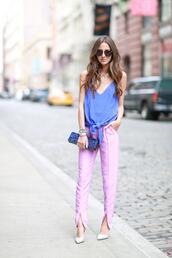 something navy,pants,shirt,bag,shoes,sunglasses